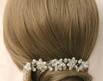 Clothing gift Crystal wreath bridal hair vine Crystal garland jewelry crown Wedding floral Headpiece Silver accessories  bridal hairpiece