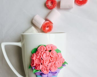 Flowers decorated mug polymer clay gift idea handmade with love