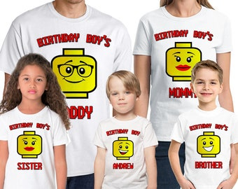 Lego Birthday Shirt Add Name & Age Lego  Family Custom Birthday Party TShirt 02