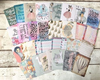 3 x 4 Assorted Journaling Cards, journal cards, scrapbook cards, ephemera, vintage cards, quote cards, penpal cards,