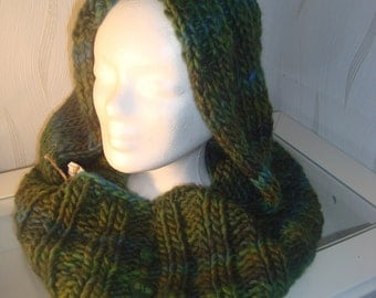 Hooded scarf loop wood hood scarf