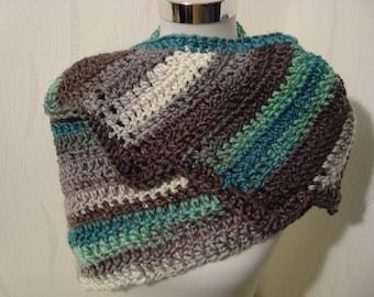 Scarf, Drachenschwanzschal scarf loop cloth green grey shawl