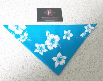 hibiscus blue and white puppy dog bandana neckwear flower