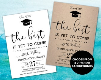 Graduation Party Invitation | Shabby Chic Graduation Party | Black and White | Graduation Invitation | Grad Announcement | Best Yet to Come