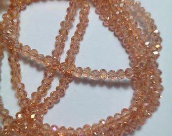"Full 14"" Inches Strand Of Coated Honey Quartz 4 MM Micro Facetade Rondelle Beads"
