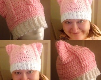Pussy Hat: pink pussy hat, pussy hat project, kitty hat, cat ear hat, Preorder April