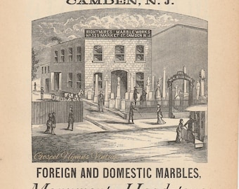 Vintage Headstones and monuments ad, Illustrated Antique cemetery ephemera, Camden New Jersey