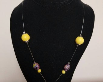 Purple and yellow illusion  necklace