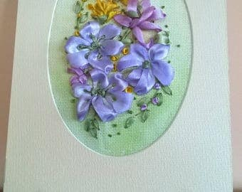 Embroidered greeting card,Satin ribbons embroidery.Card for all occasions.Flowers composition.Gift.