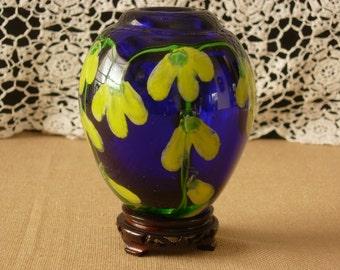 Cobalt Glass Vase Hand Blown