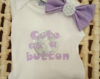 Cute As A Button Bodysuit & Headband Set; onesie, bow, gift set
