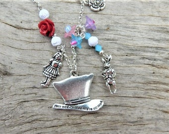 Mad Hatter jewelry, Alice in Wonderland jewelry, We're all mad here necklace, Alice necklace, White rabbit charm necklace, Easter Tea Party