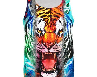 Wild Tiger Splatter All Over Adult Tank Top