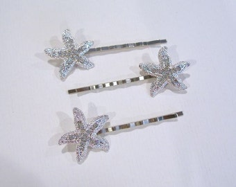 Set of 3 Handmade Crystal Rhinestone Starfish Bobby Hair Pins (Sparkle-1810)