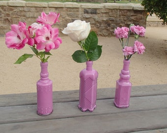 "Vintage Inspired ""Parisian Pink"" Bud Vases/ Bottle Vases - 3 Bottles in a Set"