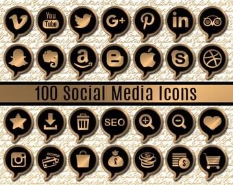 Social Media Icons Gold Social Icons Website Elements Blog Elements Web Elements Blog Shopping Icons Set Business Set Blog set Buttons Golg