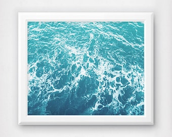 Ocean Art Print  Sea Waves  Turquoise Wall Art  Large Poster  Coastal BeachBathroom artwork   Etsy. Bathroom Artwork. Home Design Ideas
