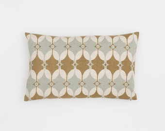 Selin Handscreen Printed Cushion Cover - Sea Grey / Fawn 30x50cm