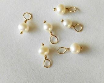 4.5~5mm Pearl Charm, one piece,potato shape fresh water Pearl charm , Golden jewelry pendant
