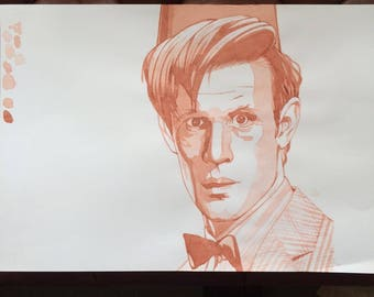 Unique  and very cool ORIGINAL artist's study of MATT SMITH (Dr Who) by Chris Naylor
