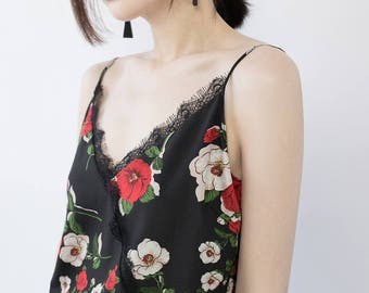 Black floral printed crepe dress
