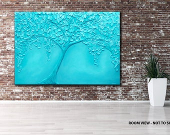 """large, turquoise, 3D, KNIFE PAINTING abstract  40"""" textured landscape/forest, abstract, contemporary,"""