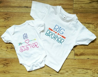 Big Brother t-shirt, Little Sister vest, Sibling gifts, Sibling tops, New sister gift, Girls clothing, Big Brother gift, brother gift