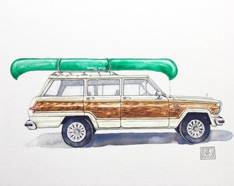 Jeep Wagoneer archival art print, original watercolor painting printed on watercolor paper, Wagoneer with canoe, classic car, wall decor
