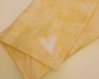 Cotton flannel brushed flannel cotton baby blanket with heart motif baby gift ~ baby swaddling blanket Baby gifts baby blanket