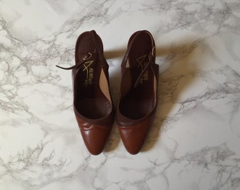 70s chestnut and chocolate high heels | sling back heels | 7.5