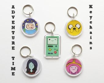 Adventure time key chain, BMO, Beemo, Jake, Finn, Marceline, Bubblegum, cartoon, vampire, keychain, charm, nerd, geek, keryring, key ring