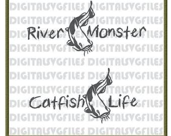 Digital File Catfish Fishing, Catfish Life, Fishing, Catfish svg , SVG/DXF/PDF File for Vinyl Cutting Machine, Cat Fish Vector Art