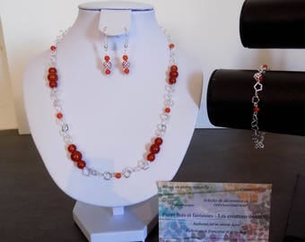 Argent925 and carnelian necklace