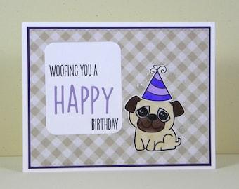 Pug Birthday Card, Pug Happy Birthday Card, Dog Birthday Card