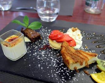 6 natural slate dessert plates