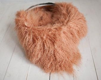 Pecan Lamb Curls, Lamb Skin Dyed, Newborn photography Fur Layering, Organic, Brown
