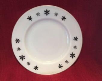 "Pyrex JAJ Gaiety Black Snowflake 9 3/4"" Dinner Plate"