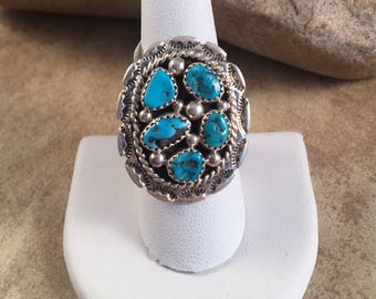 Vintage Navajo Turquoise and Sterling Silver Ring Size 10.5