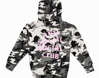 Anti Social Social Club Not A Gildan Hoodie Snow Camo || Off Assc Authentic Tags, Great Quality, Kanye, SupremeNYC