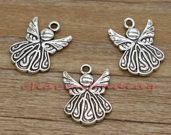 20pcs Angel Charms Antique Silver Tone 21x15mm cf0557