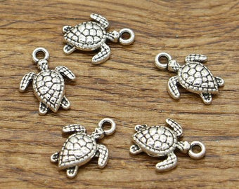 20pcs Turtle Charms Tortoise Charms Animal Charms Antique Silver Tone 17x12mm cf2310