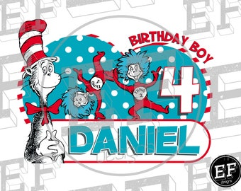Dr. Seuss Birthday shirt, Dr Seuss Birthday Boy, T-Shirt  Dr. Seuss,  Birthday Boy, Dr Seuss Birthday, Cat in the hat birthday boy