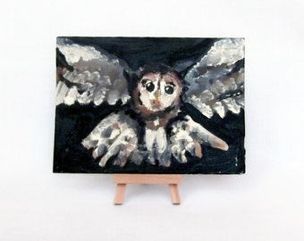 owl painting, owl gifts, acrylic painting, owl on canvas, home decor, black and white art, night, owl art, hand painted, original artwork