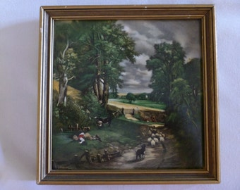 Three Vintage Framed Constable and Ruysdael Paintings on Ceramic Tile, Reproduction Painted on Tile, Dutch Art