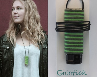 "Lighter chain ""Reni""-no searching, no losing-lighter necklace green/dark green, suede band Leather optics-handmade-festival"