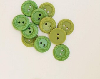 Sewing Buttons 12 Antique Buttons Vintage Buttons Green Buttons Jewelry Vintage Supply Plastic Buttons Unused Vintage For Scrapbooking