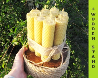 Set of 12 beeswax candles and a handmade wooden stand. Pure Beeswax Hand-Rolled Candles. Beeswax Candles. Honeycomb Candles. Natural Candles
