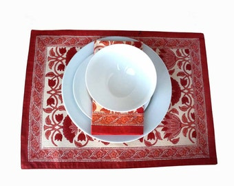 Indian wood block Printed Placemats in red and coral