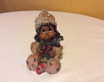 Vintage African American Little Girl Christmas Figurine