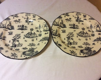 English Scenery Black and White Plate Set Woods &Son